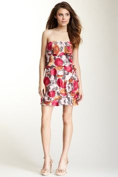 BCBGMAXAZRIA Ginger Strapless Ruffled Silk Dress by Non Specific on @HauteLook