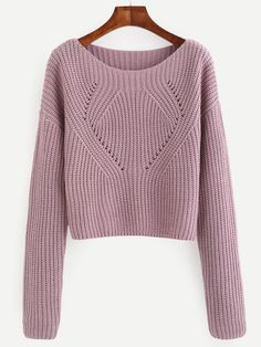 Shop Pale Purple Hollow Out Long Sleeve Sweater online. SheIn offers Pale Purple Hollow Out Long Sleeve Sweater & more to fit your fashionable needs.