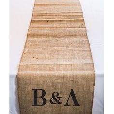 "120"" Personalized Long Burlap Table Runner with Equestrian Monogram"