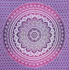 Fairdecor New Pink Purple Ombre Mandala Tapestries,Mandala Hippie Wall Hanging Queen Size Large Mandala Tapestry Bohemian Wall Art Mandala Tapestries Wonder Colour Mandala Tapestry Dorm Tapestry, Mandala Tapestry, Tapestries, Beach Bedspreads, Bohemian Bedspread, Bohemian Wall Art, Indian Mandala, Gold Walls, Tattoo