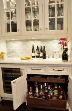 Bright locking liquor cabinet in Kitchen Traditional with Liquor Storage next to Locked Liquor Cabinet alongside Bar Area and Butler Pantry - Home Decor Kitchen Pantry, New Kitchen, Kitchen Decor, Kitchen Bars, Kitchen Storage, Kitchen Wet Bar, Dining Room Storage, Kitchen Coffee Bars, Kitchen Pull Out Drawers