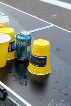 Chalkboard paint on cups. Write your name and it's yours for the night!