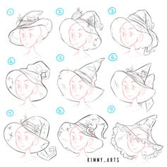 Hat drawing tutorial witch new Ideas Drawing Techniques, Drawing Tips, Drawing Ideas, Manga Drawing Tutorials, Drawing Base, Witch Drawing, Face Proportions Drawing, Poses References, Drawing Reference Poses