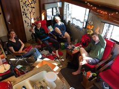 What the post-present-opening scene looks like for a full time RV family. Lots of edible treats - tea candies jerky a few clothing items and gift cards. Our son joined us from MI and brought a friend down - good thing we have a couple extra bunks! Merry Christmas from our tiny home to yours! #happiness #christmas #ditchingsuburbia #gorving. #fulltimerv #holiday #lifeontheroad