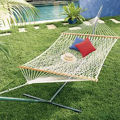 Rope Hammock and Steel Stand Set at Cost Plus World Market. Create a lazy-day tropical retreat for dad in the backyard.