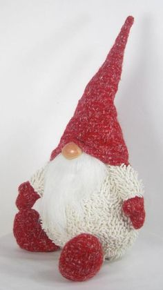 "Chubby Scandinavian Gnome Sitting Red and Cream Felt 15"" Tall x 6"" #MeraVic"