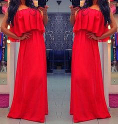 Fashion Sexy Ruffles Straples Red Long Dress