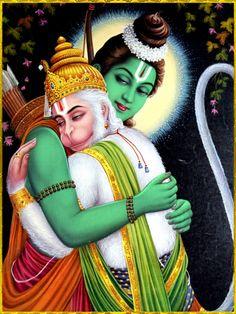 "☀ SHRI RAM HANUMAN ॐ ☀Shri Ram said:""Let me at least embrace this magnanimous Hanuman since in the present circumstances, this is all that is easily obtained from me. Jai Hanuman Photos, Hanuman Images, Ganesh Images, Lord Krishna Images, Bhagavad Gita, Lord Ram Image, Arte Shiva, Hanuman Jayanthi, Shree Ram Images"