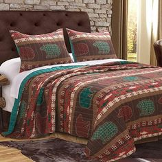 Finely Stitched Quilt Set Cabin Lodge Rustic Bedding Wildlife Wilderness Printed Pattern Reversible Comforter Coverlet Bedspread 3 Piece with Shams Double Full/Queen - Bedding with Bear prints for a Lake or Mountain bedroom decor
