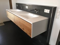 Vanity made of solid surface material. Base cabinet made of old oak - Vanity made of solid surface material. Base cabinet made of old oak - Bathroom Design Layout, Basin Cabinet, Cabinet Making, Solid Surface, Bathroom Furniture, Bathroom Cabinets, Bathroom Inspiration, Modern Bathroom, Sink