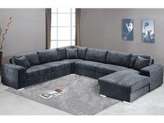 Sofá panorámico 7 plazas de tela MUSE - Gris - Ángulo derecho