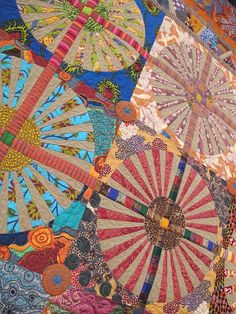 "Close up of ""Dandelions"" by Kathleen McLaughlin, quilted by Debbie Loeser. Beautifully blended combination of fabrics. Circle Quilts, Lap Quilts, Scrappy Quilts, Mini Quilts, Quilt Blocks, Quilting Projects, Quilting Designs, Quilting Ideas, Modern Quilting"