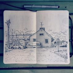 """Waiting in the remote mining town Gällivare for the night train. Drawing the old train station in my #moleskine #sketchbook On the way with @brggr &…"""