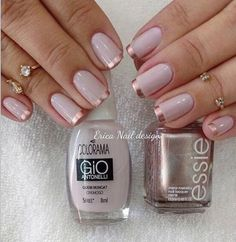 Que fofura ✨✨ : Quem Nunca - Colorama + Penny Talk - Essie : Love Nails, How To Do Nails, Pretty Nails, My Nails, Bridal Nails, Wedding Nails, French Nails, Nagellack Trends, Nagel Gel