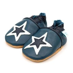 7222d4374c4 Navy and White Star – Dotty Fish Soft Leather Baby and Toddler Shoes – Side  Leather