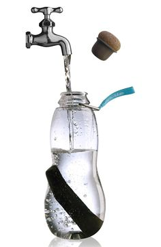 BPA-free water bottle with charcoal filter