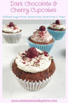 Dark Chocolate Cherry Cupcakes by Emma Eats & Explores - Refined Sugar-Free, Dairy-Free, Gluten-Free, Grain-Free, Paleo & Vegetarian