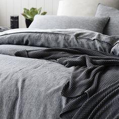 Vintage Washed Linen Quilt Cover Indigo