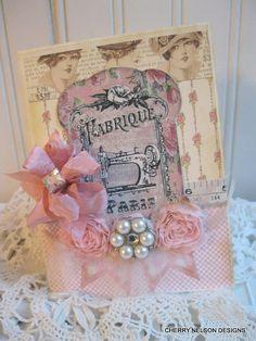shabby sewing card- parisian sewing theme handmade card