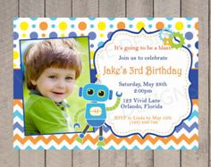 Robot Birthday Invitation - Boy First Birthday, Blue, Orange, Yellow, Chevron, Polka Dots, 1st, 2nd, 3rd, 4th, 5th, Birthday with Photo 5056