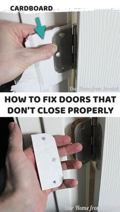 Home Remodeling Hacks How to easily fix doors that won't close or stick because they are sagging! It's a simple household trick that just requires a little cardboard. Every homeowner should know this life hack! Home Improvement Projects, Home Projects, Home Renovation, Home Remodeling, Home Fix, Diy Home Repair, Up House, Home Repairs, Home Hacks