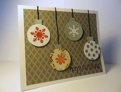 Handmade Christmas card on patterned paper with hanging ornaments. Christmas Frames, Christmas Art, Handmade Christmas, Preschool Christmas, Christmas Scrapbook, Christmas 2016, Homemade Christmas Cards, Homemade Cards, Homemade Gifts