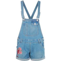 Boohoo Amelie Floral Embroidery Denim Dungaree Shorts (745 UYU) ❤ liked on Polyvore featuring shorts, overalls, dungarees, rompers, bottoms and denim dungaree