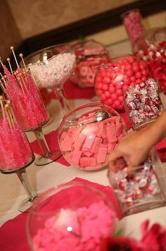 Another candy buffet with pink wafers and pretzels dipped in pink chocolate