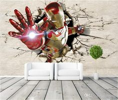 3d View Iron Man Wallpaper Giant Wall Murals Cool Photo Wallpaper Boys Room Decor Tv Background Wall Bedroom Hallway Kids Room High Definition Wallpaper High Definition Wallpapers Free From Greenho, $25.97| Dhgate.Com