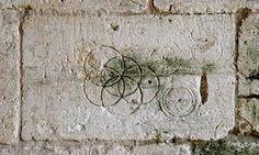 Markings in Tithe Barn, Bradford-on-Avon, Wiltshire.