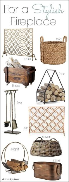 Stylish Fireplace Accessories (Fireplace Screens, Log Holders, & Tools)