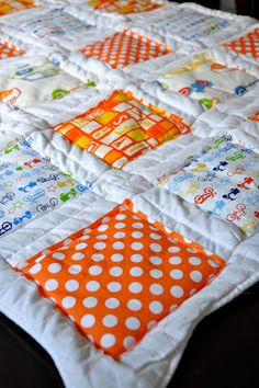 """cheaty mc-cheats-a-lot quilt how to!  Make the squares a 1/2"""" bigger and fold under & press before stitching"""