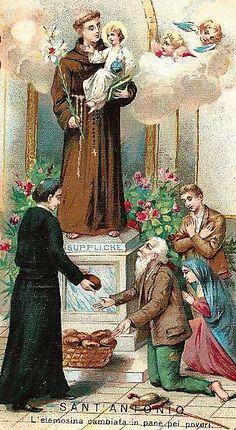 Oracion A San Antonio, Saint Anthony Of Padua, San Francisco, Vintage Holy Cards, Prayer Cards, St Francis, Indian Gods, Mystic, Prayers
