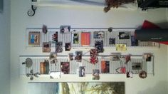 Old shutters decorated with photos and random objects