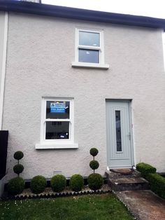 Beautiful and Affordable Townhouse Sash Windows in White. The Townhouse Sash opens out rather than sliding up and down, giving full fire escape and a lower price windows. From Costello Windows Glin, Co. Fire Escape, Composite Door, Sash Windows, Townhouse, Outdoor Decor, Beautiful, Home Decor, Decoration Home, Terraced House