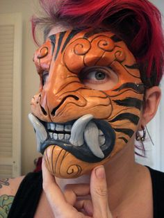 Striped demon mask by missmonster.deviantart.com on @deviantART