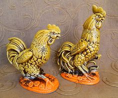 Vintage Decorative Gold and Bright Orange Ceramic Rooster Pair | eBay