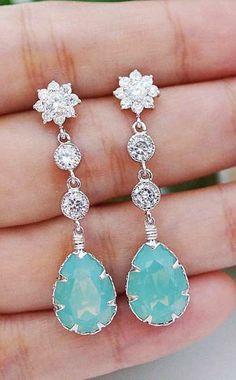 Pacific Opal Mint Bridal Earrings from EarringsNation Mint Weddings