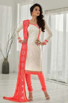 White Chanderi Churidar Salwar Kameez