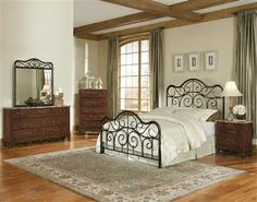 Santa Cruz Warm Brown Cherry Master Bedroom Set