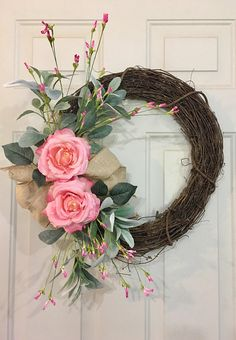 Pink Hydrangeas and Roses Wreath Spring Front Door Wreath Summer Wreath Pink Hydrangea Wreath Pink Rose Wreath Shabby Chic Wreath Shabby Chic Kranz, Shabby Chic Wreath, Rustic Wreaths, Paper Flower Wreaths, Hydrangea Wreath, Pink Hydrangea, Tulip Wreath, Spring Front Door Wreaths, Spring Wreaths