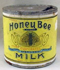 VINTAGE HONEY BEE EVAPORATED MILK TIN W/ ORIGINAL