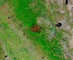 Burn scar from the Rim Fire, California (false color)