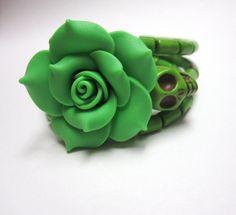 Skull Bracelet Day Of The Dead Wrap Green Rose by sweetie2sweetie, $24.99