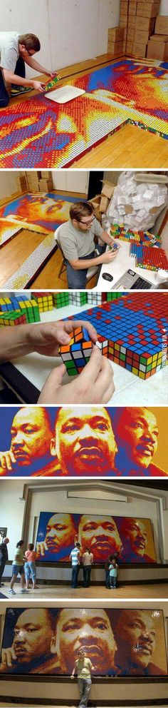 Art made with Rubik cubes