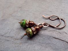 I love these Chocolate brown and pistachio green earrings. These Czech rondelle beads are beautifully swirled with…
