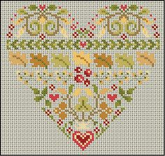 Anne les petites croix chart for autumn heart Fall Cross Stitch, Cross Stitch Heart, Cross Stitch Flowers, Cross Stitch Kits, Cross Stitch Designs, Embroidery Hearts, Cross Stitch Embroidery, Wedding Cross Stitch Patterns, Stitch Witchery