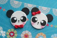 Fondant Panda Bear 2D/Flat Cupcake Toppers. $36,00, via Etsy.