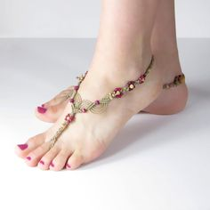 Foot Jewelry Barefoot Sandal Hot Pink by LittleMarvelDesigns, $36.00