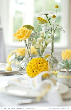 Love the yellow with succulents and the silver grey of yarrow.  The yellow flower balls are a wonderful idea too!